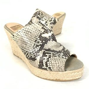 KANNA Snake Print Leather Espadrille Wedge Sandals